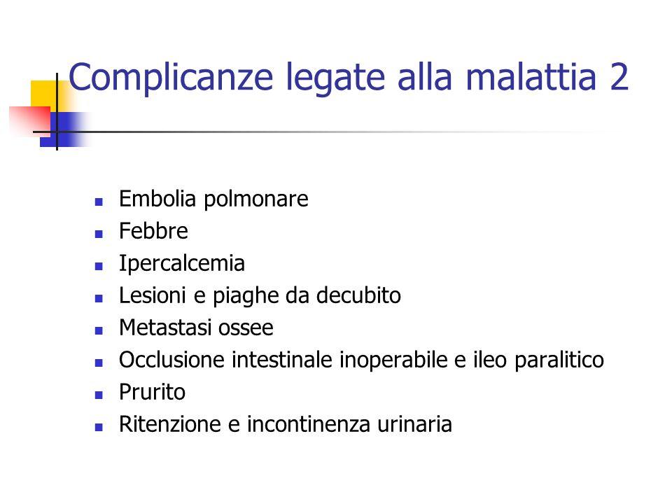 Complicanze legate alla malattia 2 Embolia polmonare Febbre Ipercalcemia Lesioni e piaghe da decubito Metastasi ossee Occlusione intestinale inoperabi