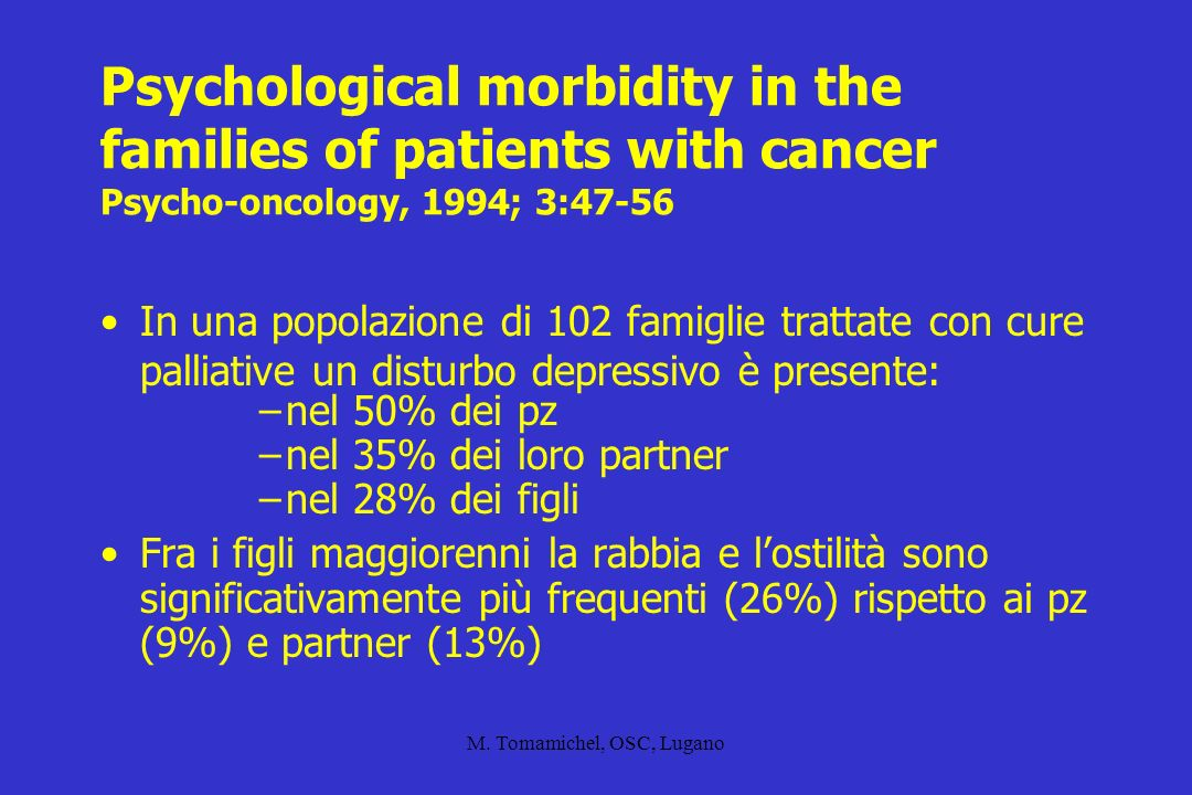 M. Tomamichel, OSC, Lugano Psychological morbidity in the families of patients with cancer Psycho-oncology, 1994; 3:47-56 In una popolazione di 102 fa