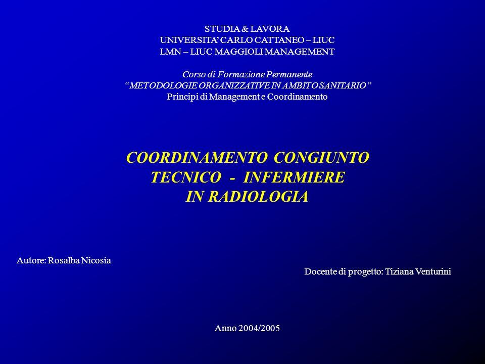 COORDINAMENTO CONGIUNTO TECNICO - INFERMIERE IN RADIOLOGIA R.