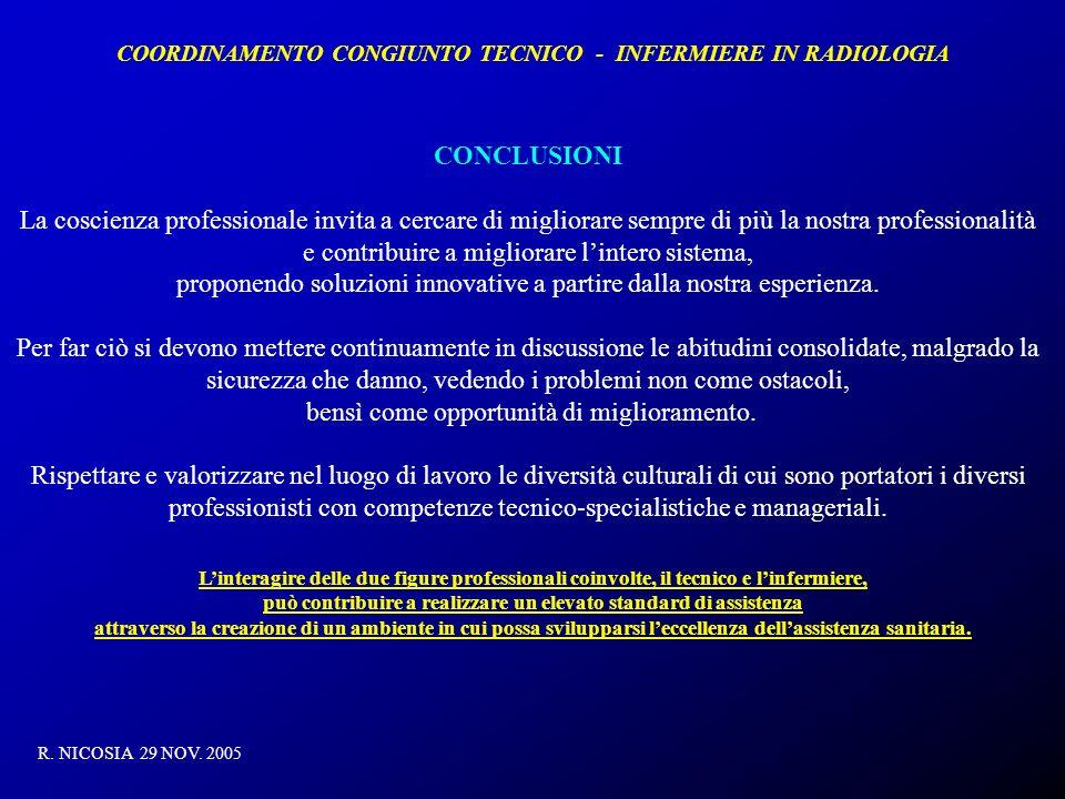 COORDINAMENTO CONGIUNTO TECNICO - INFERMIERE IN RADIOLOGIA R. NICOSIA 29 NOV. 2005 CONCLUSIONI La coscienza professionale invita a cercare di migliora