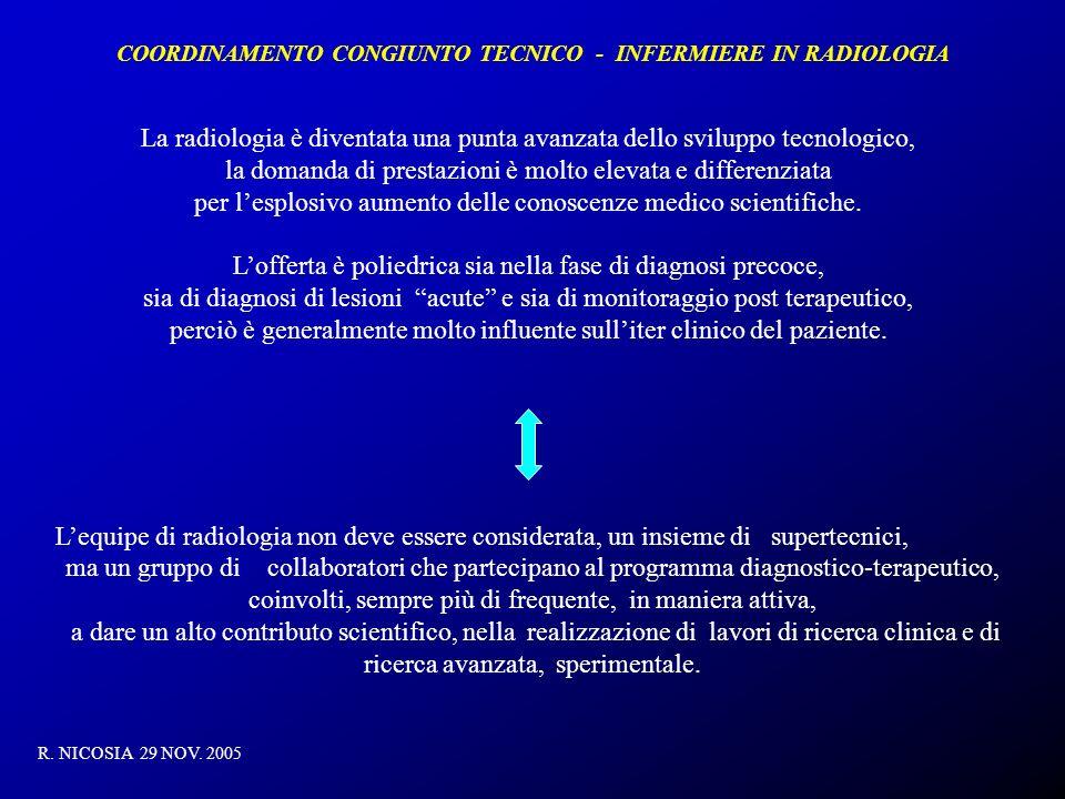 COORDINAMENTO CONGIUNTO TECNICO - INFERMIERE IN RADIOLOGIA R. NICOSIA 29 NOV. 2005 La radiologia è diventata una punta avanzata dello sviluppo tecnolo