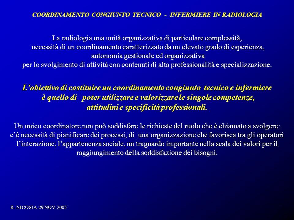 COORDINAMENTO CONGIUNTO TECNICO - INFERMIERE IN RADIOLOGIA R. NICOSIA 29 NOV. 2005 La radiologia una unità organizzativa di particolare complessità, n