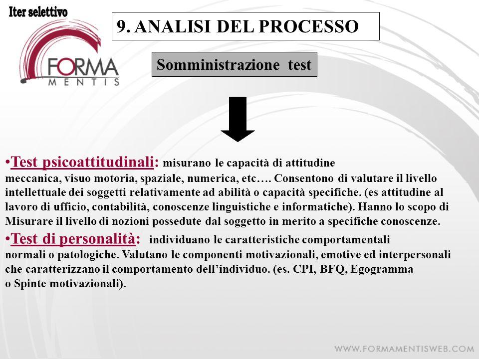 9. ANALISI DEL PROCESSO Somministrazione test Test psicoattitudinali: misurano le capacità di attitudine meccanica, visuo motoria, spaziale, numerica,