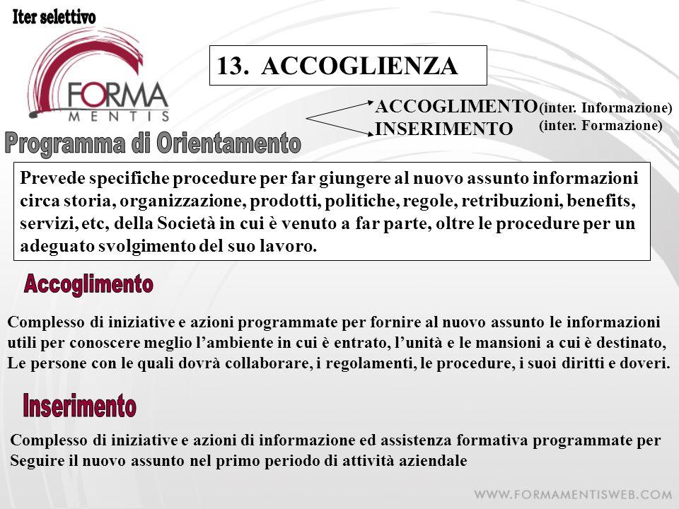 13. ACCOGLIENZA Prevede specifiche procedure per far giungere al nuovo assunto informazioni circa storia, organizzazione, prodotti, politiche, regole,