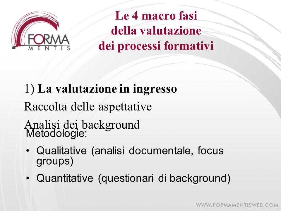 Le 4 macro fasi della valutazione dei processi formativi 1) La valutazione in ingresso Raccolta delle aspettative Analisi dei background Metodologie: