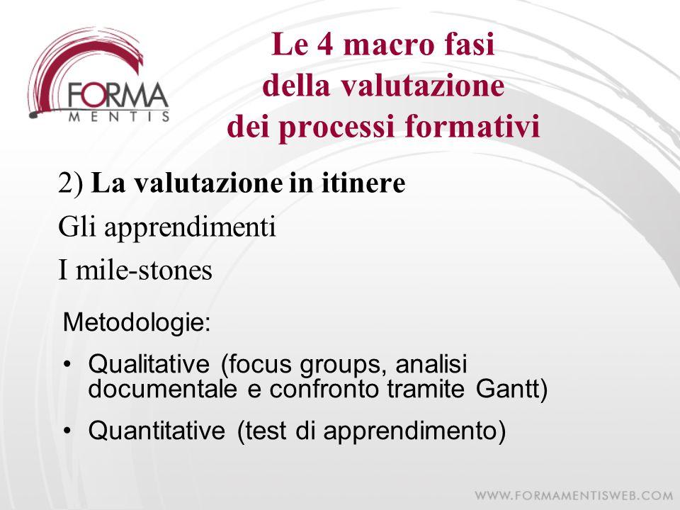Le 4 macro fasi della valutazione dei processi formativi 2) La valutazione in itinere Gli apprendimenti I mile-stones Metodologie: Qualitative (focus