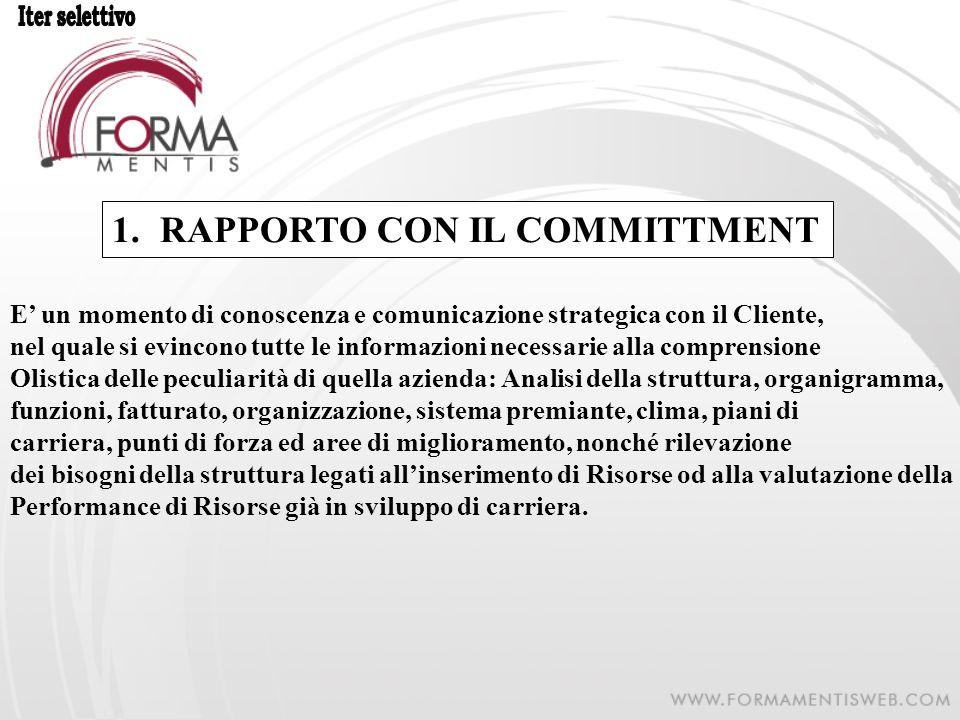 1.RAPPORTO CON IL COMMITTMENT E un momento di conoscenza e comunicazione strategica con il Cliente, nel quale si evincono tutte le informazioni necess