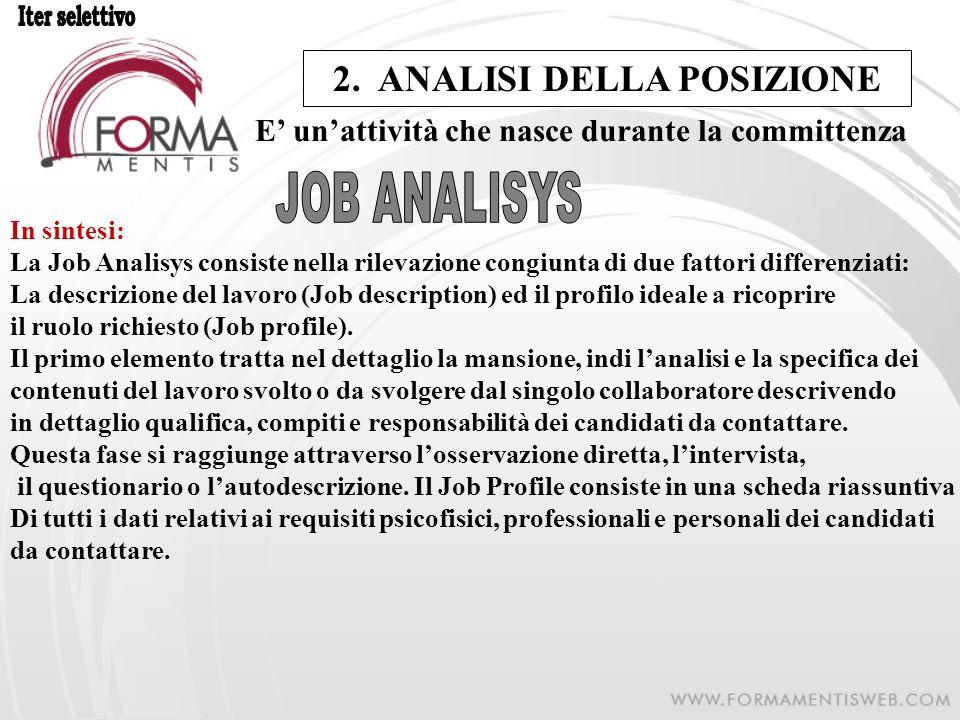 2. ANALISI DELLA POSIZIONE E unattività che nasce durante la committenza In sintesi: La Job Analisys consiste nella rilevazione congiunta di due fatto