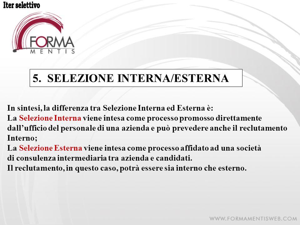 5. SELEZIONE INTERNA/ESTERNA In sintesi, la differenza tra Selezione Interna ed Esterna è: La Selezione Interna viene intesa come processo promosso di
