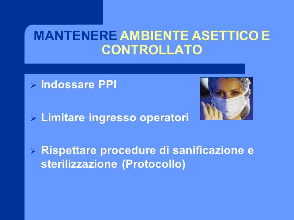 MANTENERE AMBIENTE ASETTICO E CONTROLLATO Indossare PPI Limitare ingresso operatori Rispettare procedure di sanificazione e sterilizzazione (Protocoll