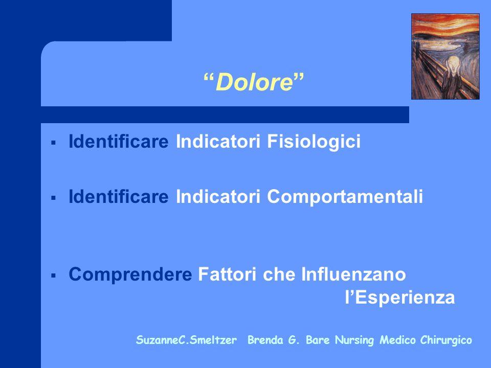 Dolore Identificare Indicatori Fisiologici Identificare Indicatori Comportamentali Comprendere Fattori che Influenzano lEsperienza SuzanneC.Smeltzer B