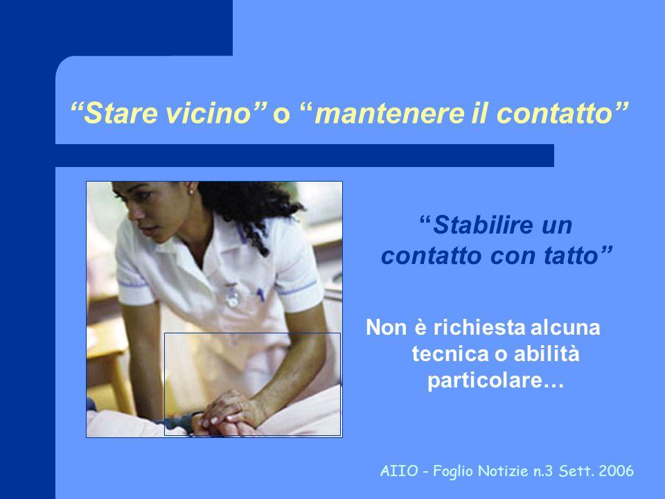 Stare vicino o mantenere il contatto Stabilire un contatto con tatto Non è richiesta alcuna tecnica o abilità particolare… AIIO - Foglio Notizie n.3 S