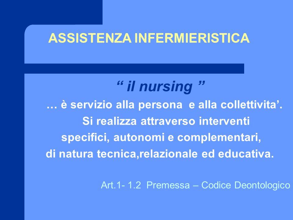 ASSISTENZA INFERMIERISTICA il nursing … è servizio alla persona e alla collettivita. Si realizza attraverso interventi specifici, autonomi e complemen