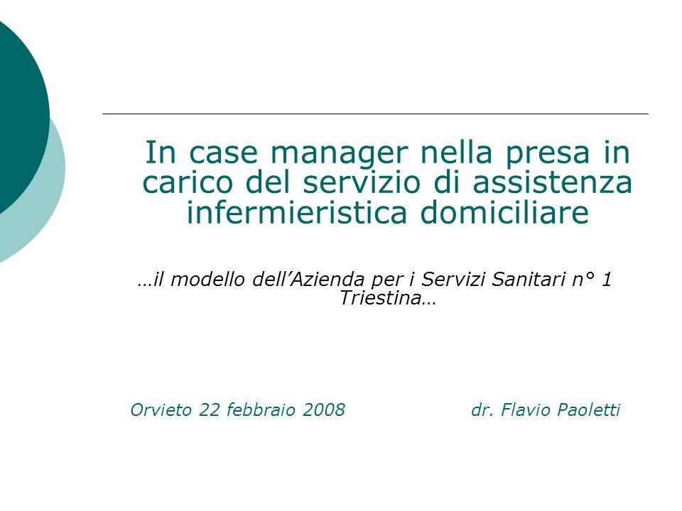In case manager nella presa in carico del servizio di assistenza infermieristica domiciliare …il modello dellAzienda per i Servizi Sanitari n° 1 Tries