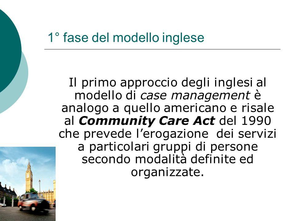 1° fase del modello inglese Il primo approccio degli inglesi al modello di case management è analogo a quello americano e risale al Community Care Act