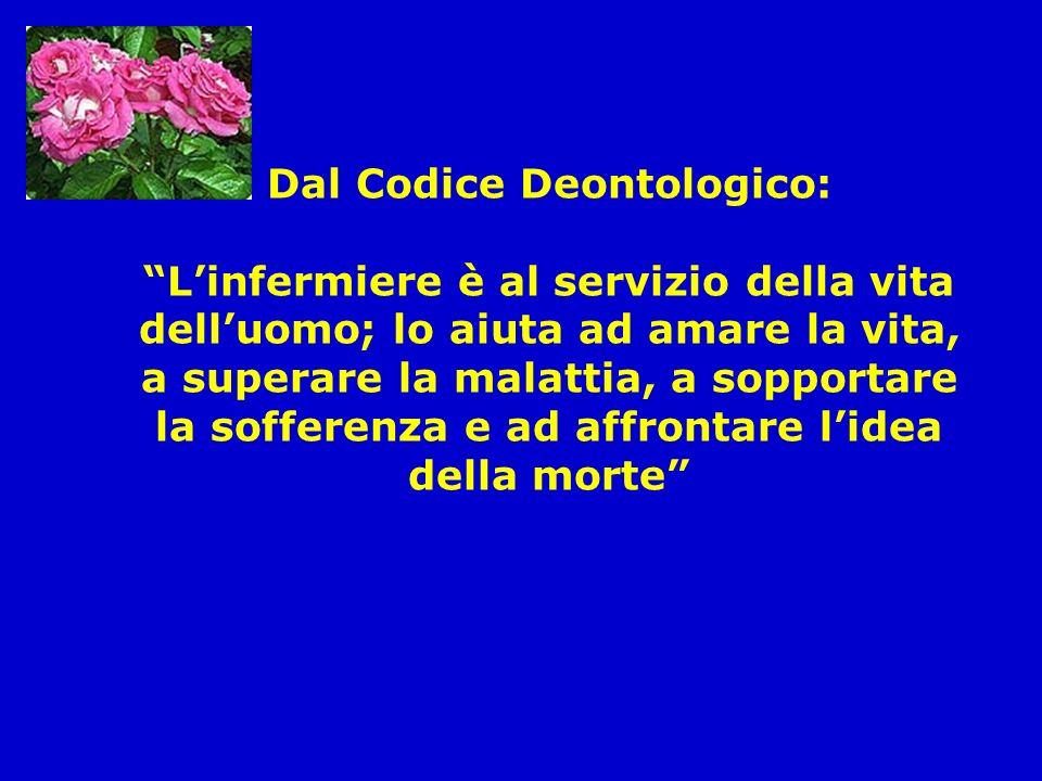 Dal Codice Deontologico: Linfermiere è al servizio della vita delluomo; lo aiuta ad amare la vita, a superare la malattia, a sopportare la sofferenza e ad affrontare lidea della morte