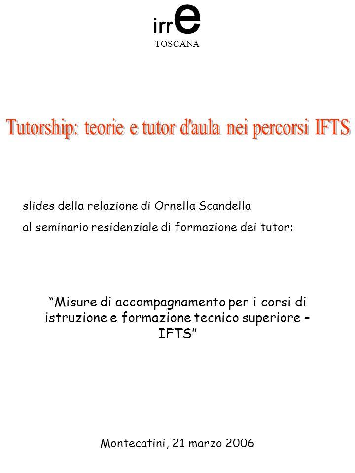 slides della relazione di Ornella Scandella al seminario residenziale di formazione dei tutor: Misure di accompagnamento per i corsi di istruzione e f