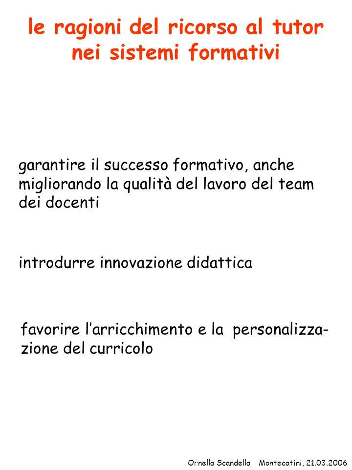 centralità pedagogiche della tutorship riflessione sulle connessioni metacognizione acquisizione di consapevolezze Ornella Scandella Montecatini, 21.03.2006