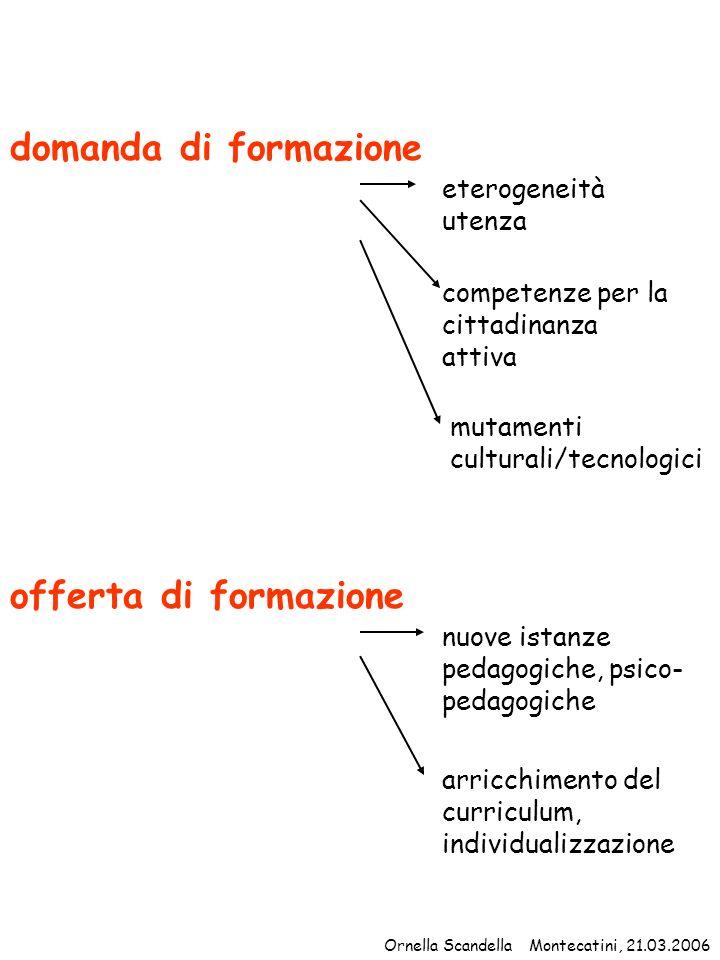 domanda di formazione eterogeneità utenza competenze per la cittadinanza attiva mutamenti culturali/tecnologici offerta di formazione nuove istanze pe