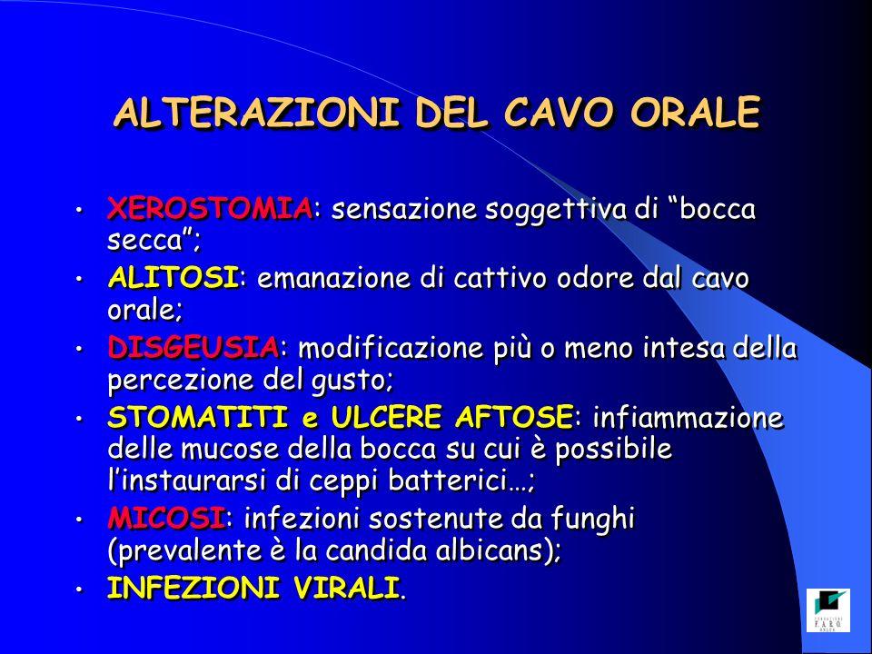 ALTERAZIONI DEL CAVO ORALE XEROSTOMIA: sensazione soggettiva di bocca secca; ALITOSI: emanazione di cattivo odore dal cavo orale; DISGEUSIA: modificazione più o meno intesa della percezione del gusto; STOMATITI e ULCERE AFTOSE: infiammazione delle mucose della bocca su cui è possibile linstaurarsi di ceppi batterici…; MICOSI: infezioni sostenute da funghi (prevalente è la candida albicans); INFEZIONI VIRALI.