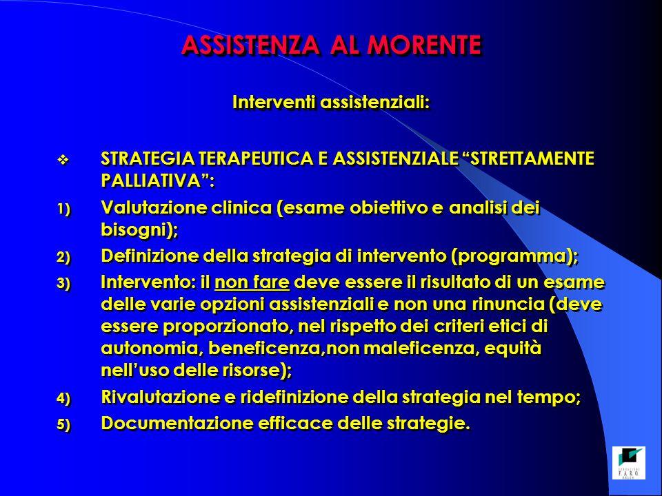 ASSISTENZA AL MORENTE Interventi assistenziali: STRATEGIA TERAPEUTICA E ASSISTENZIALE STRETTAMENTE PALLIATIVA: 1) Valutazione clinica (esame obiettivo