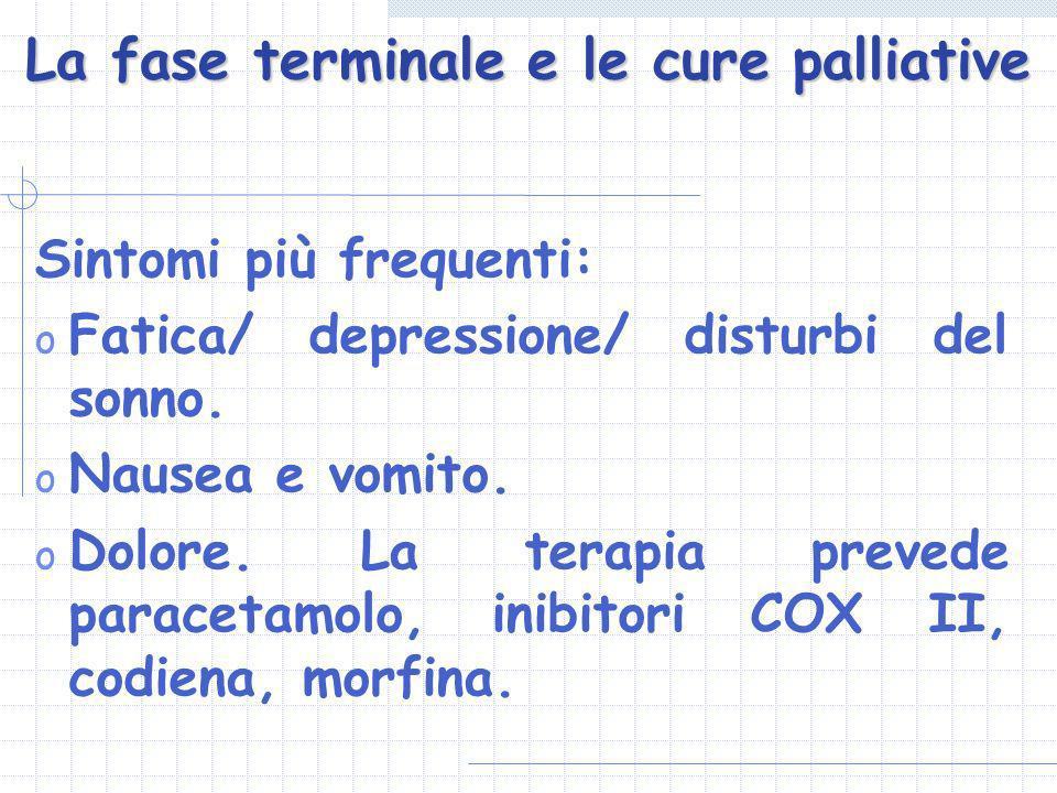 La fase terminale e le cure palliative Sintomi più frequenti: o Fatica/ depressione/ disturbi del sonno. o Nausea e vomito. o Dolore. La terapia preve