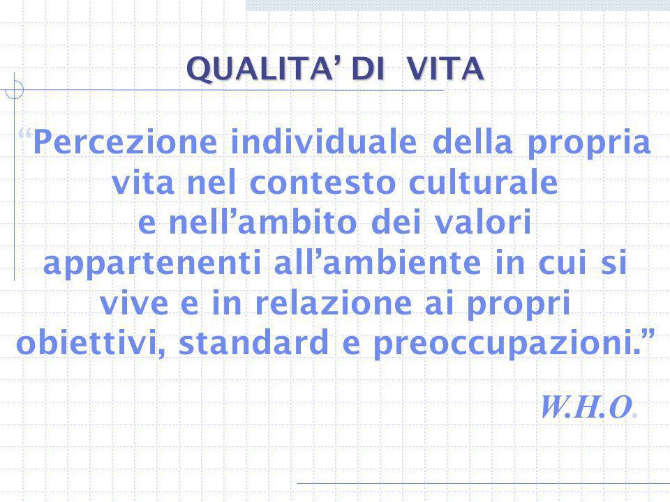 Percezione individuale della propria vita nel contesto culturale e nellambito dei valori appartenenti allambiente in cui si vive e in relazione ai pro