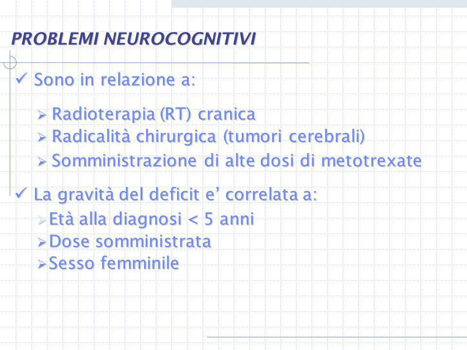 Sono in relazione a: Sono in relazione a: Radioterapia (RT) cranica Radioterapia (RT) cranica Radicalità chirurgica (tumori cerebrali) Radicalità chir