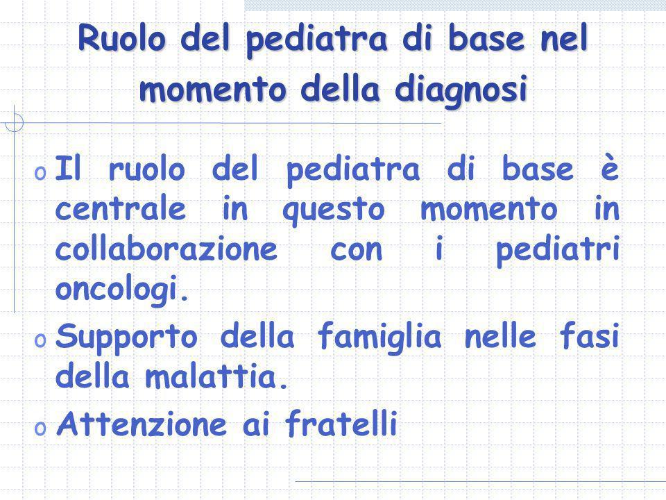 Ruolo del pediatra di base nel momento della diagnosi o Il ruolo del pediatra di base è centrale in questo momento in collaborazione con i pediatri on