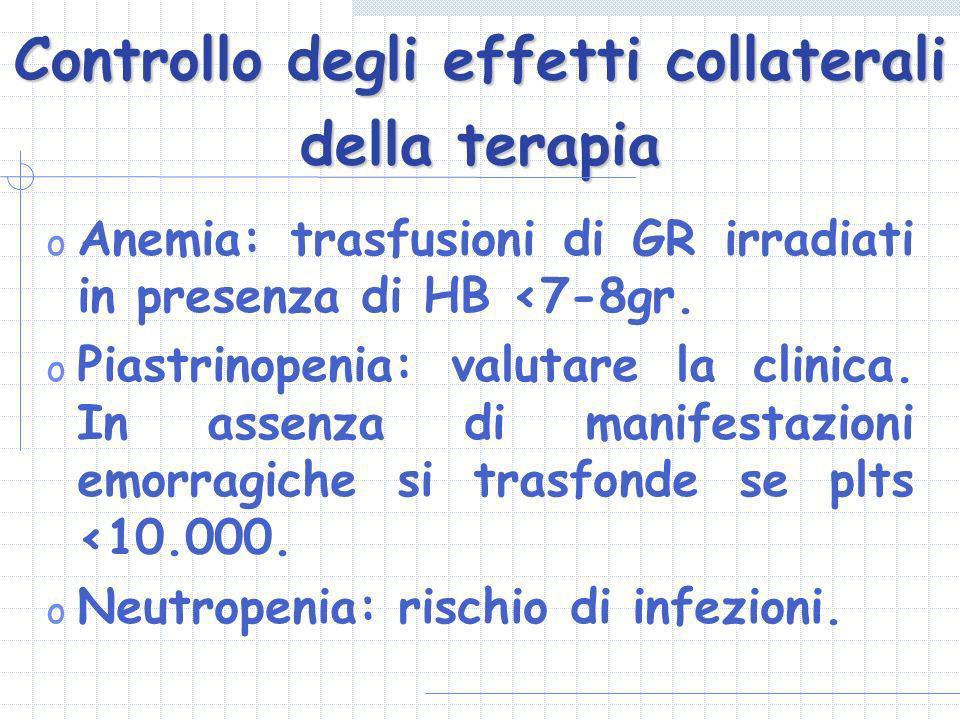 Controllo degli effetti collaterali della terapia o Anemia: trasfusioni di GR irradiati in presenza di HB <7-8gr. o Piastrinopenia: valutare la clinic