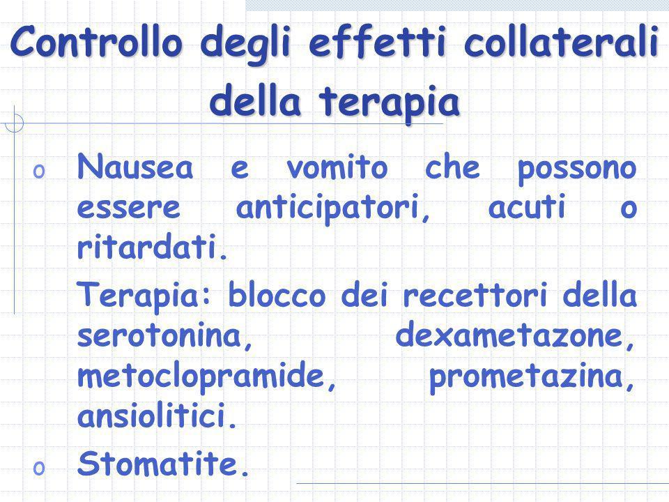 Controllo degli effetti collaterali della terapia o Nausea e vomito che possono essere anticipatori, acuti o ritardati. Terapia: blocco dei recettori
