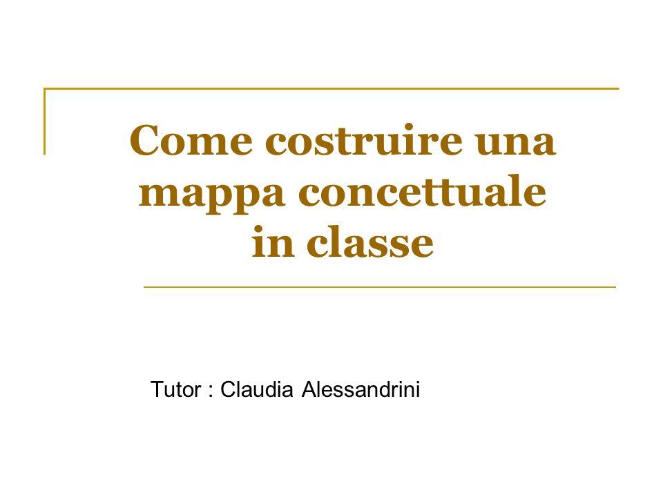 Come costruire una mappa concettuale in classe Tutor : Claudia Alessandrini