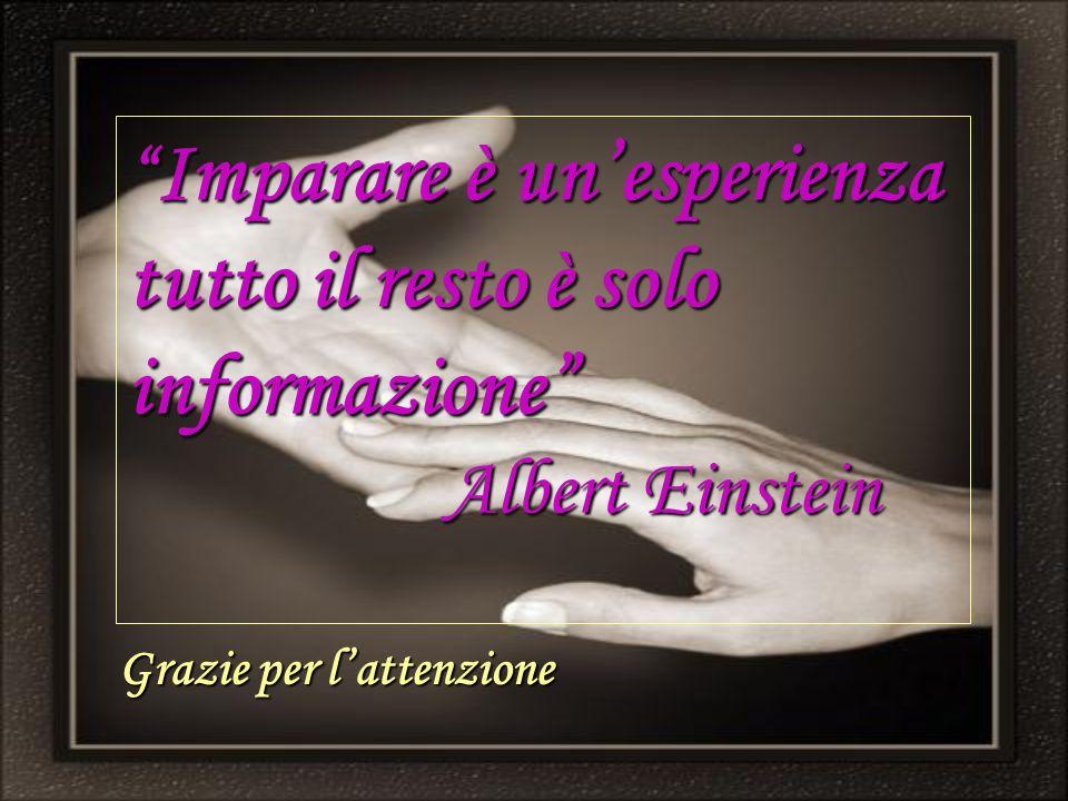 Imparare è unesperienza tutto il resto è solo informazione Albert Einstein Imparare è unesperienza tutto il resto è solo informazione Albert Einstein