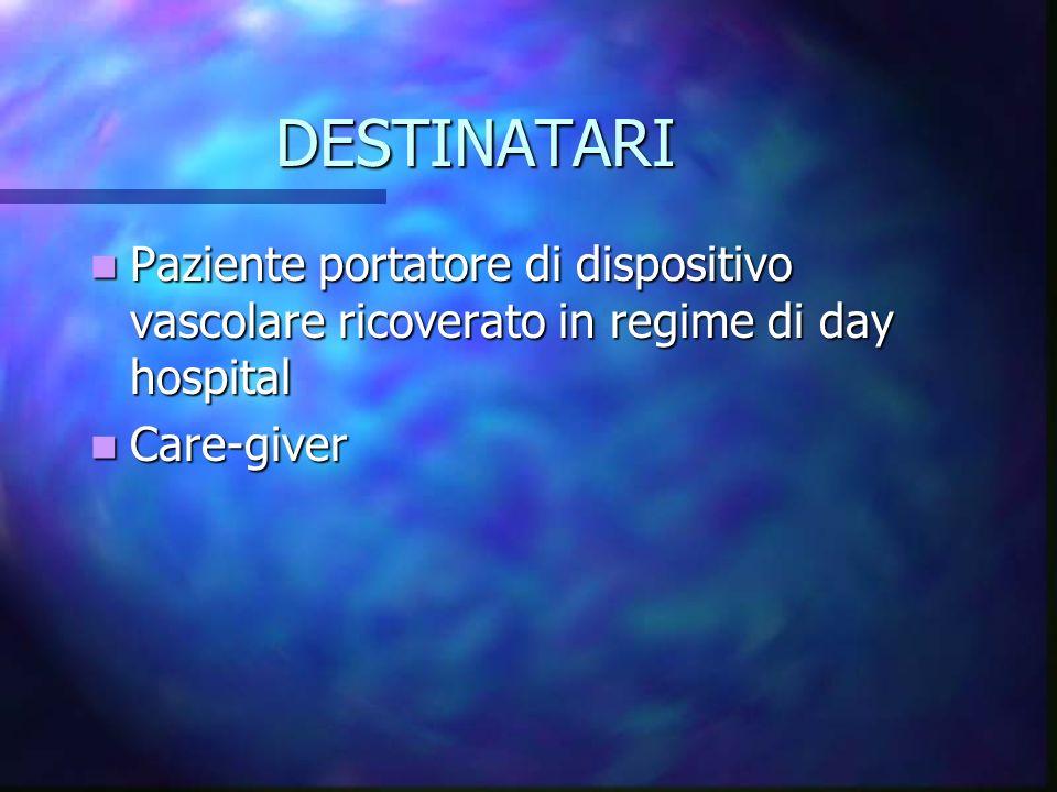 DESTINATARI Paziente portatore di dispositivo vascolare ricoverato in regime di day hospital Paziente portatore di dispositivo vascolare ricoverato in