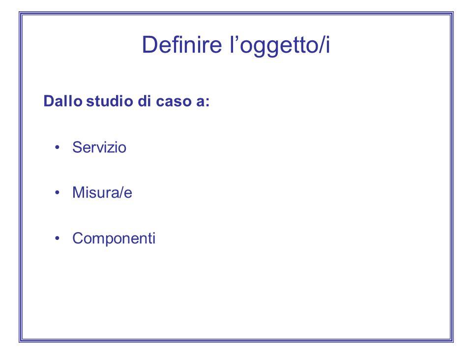 Definire loggetto/i Dallo studio di caso a: Servizio Misura/e Componenti
