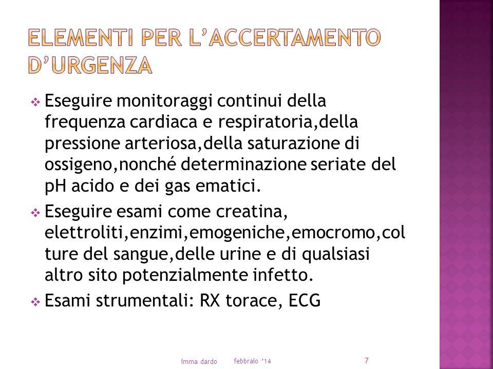 Eseguire monitoraggi continui della frequenza cardiaca e respiratoria,della pressione arteriosa,della saturazione di ossigeno,nonché determinazione seriate del pH acido e dei gas ematici.