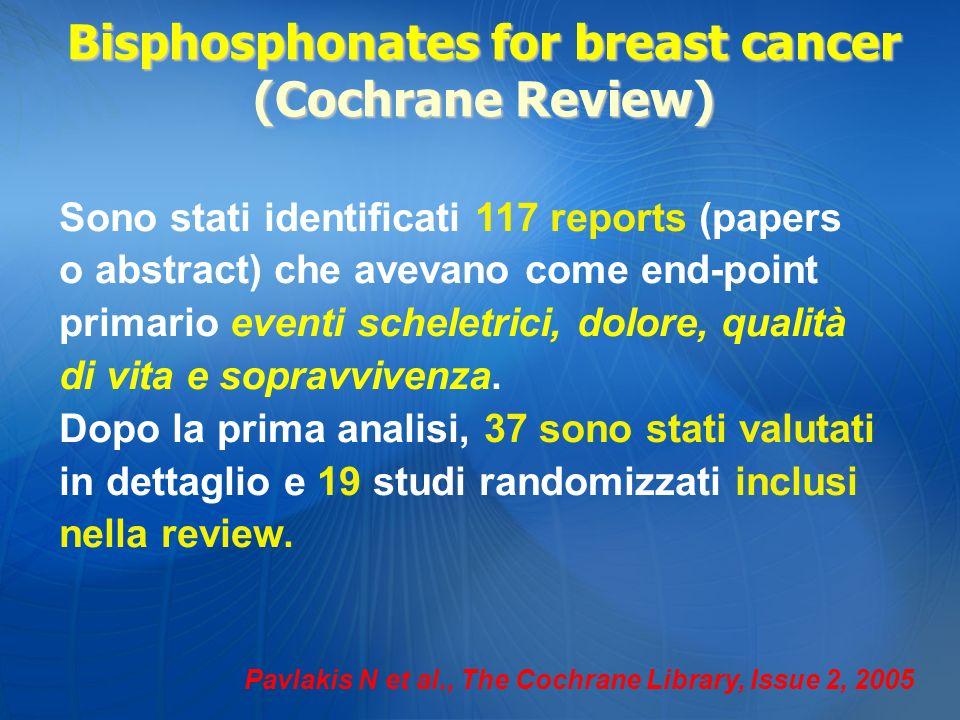 Pavlakis N et al., The Cochrane Library, Issue 2, 2005 Sono stati identificati 117 reports (papers o abstract) che avevano come end-point primario eve