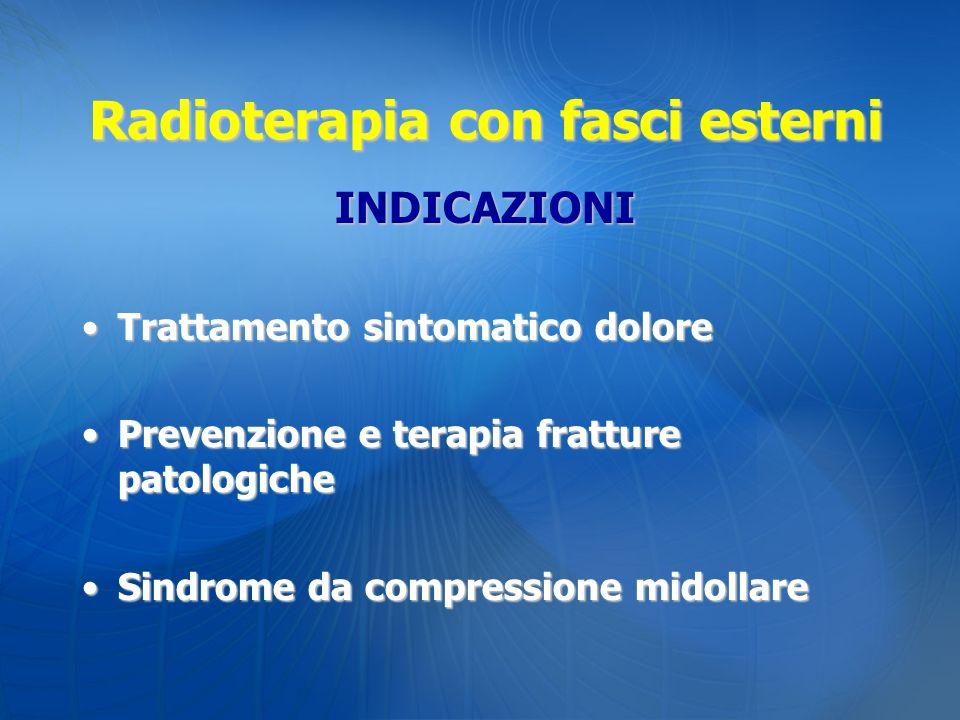 Radioterapia con fasci esterni INDICAZIONI Trattamento sintomatico doloreTrattamento sintomatico dolore Prevenzione e terapia fratture patologichePrev