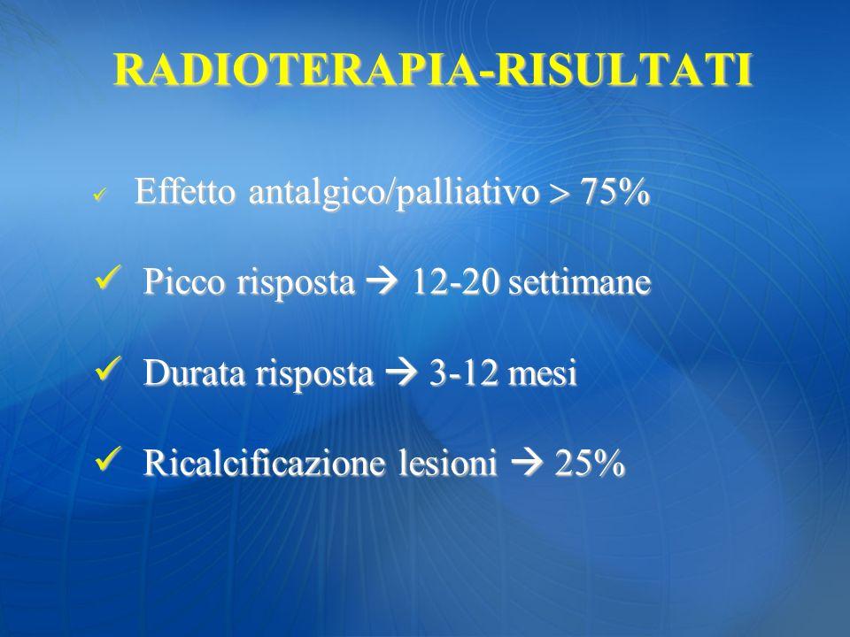 RADIOTERAPIA-RISULTATI Effetto antalgico/palliativo 75% Effetto antalgico/palliativo 75% Picco risposta 12-20 settimane Picco risposta 12-20 settimane