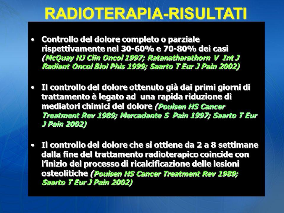 Controllo del dolore completo o parziale rispettivamente nel 30-60% e 70-80% dei casi (McQuay HJ Clin Oncol 1997; Ratanatharathorn V Int J Radiant Onc