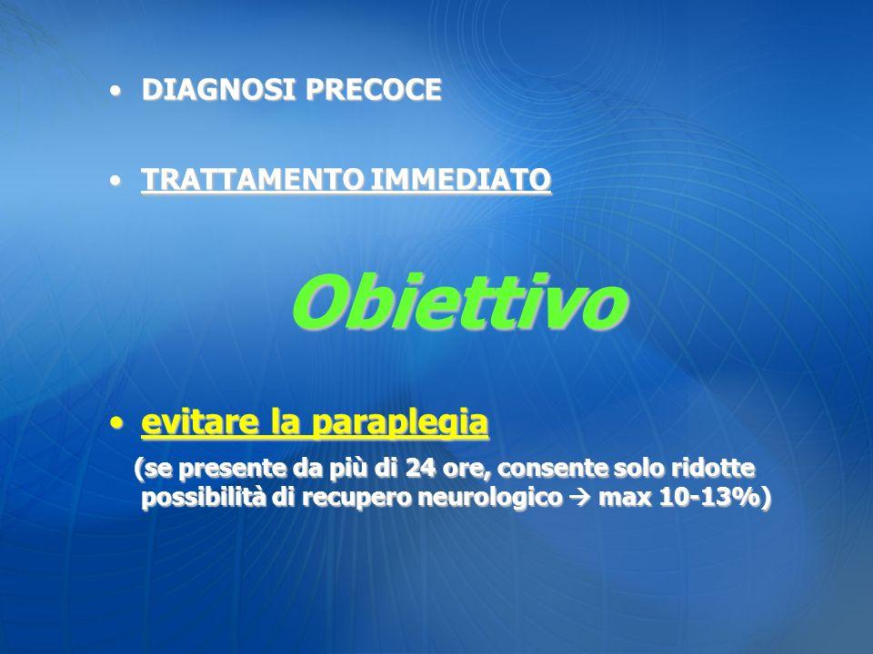 DIAGNOSI PRECOCEDIAGNOSI PRECOCE TRATTAMENTO IMMEDIATOTRATTAMENTO IMMEDIATOObiettivo evitare la paraplegiaevitare la paraplegia (se presente da più di