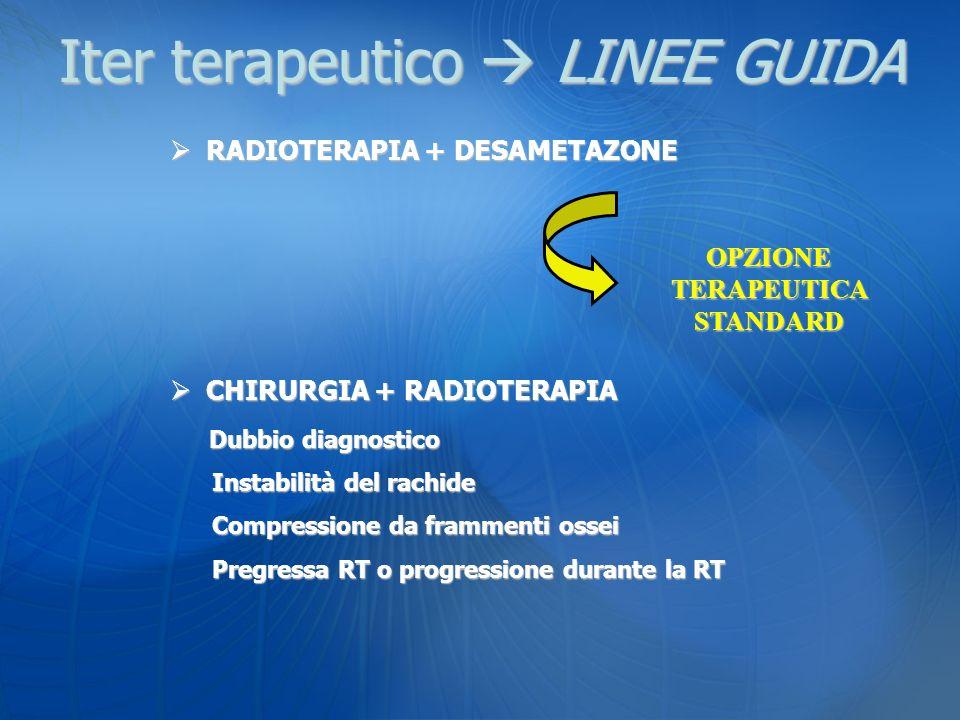 Iter terapeutico LINEE GUIDA RADIOTERAPIA + DESAMETAZONE RADIOTERAPIA + DESAMETAZONE CHIRURGIA + RADIOTERAPIA CHIRURGIA + RADIOTERAPIA Dubbio diagnost