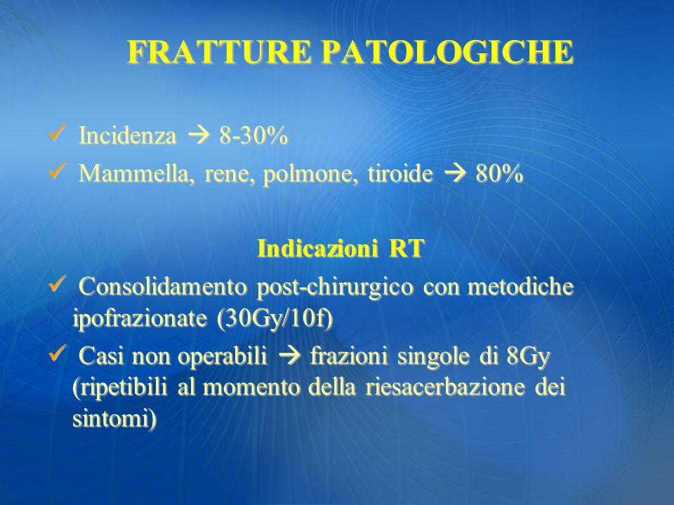 FRATTURE PATOLOGICHE Incidenza 8-30% Incidenza 8-30% Mammella, rene, polmone, tiroide 80% Mammella, rene, polmone, tiroide 80% Indicazioni RT Consolid