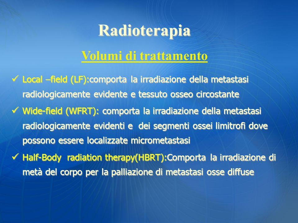 Local –field (LF):comporta la irradiazione della metastasi radiologicamente evidente e tessuto osseo circostante Local –field (LF):comporta la irradia