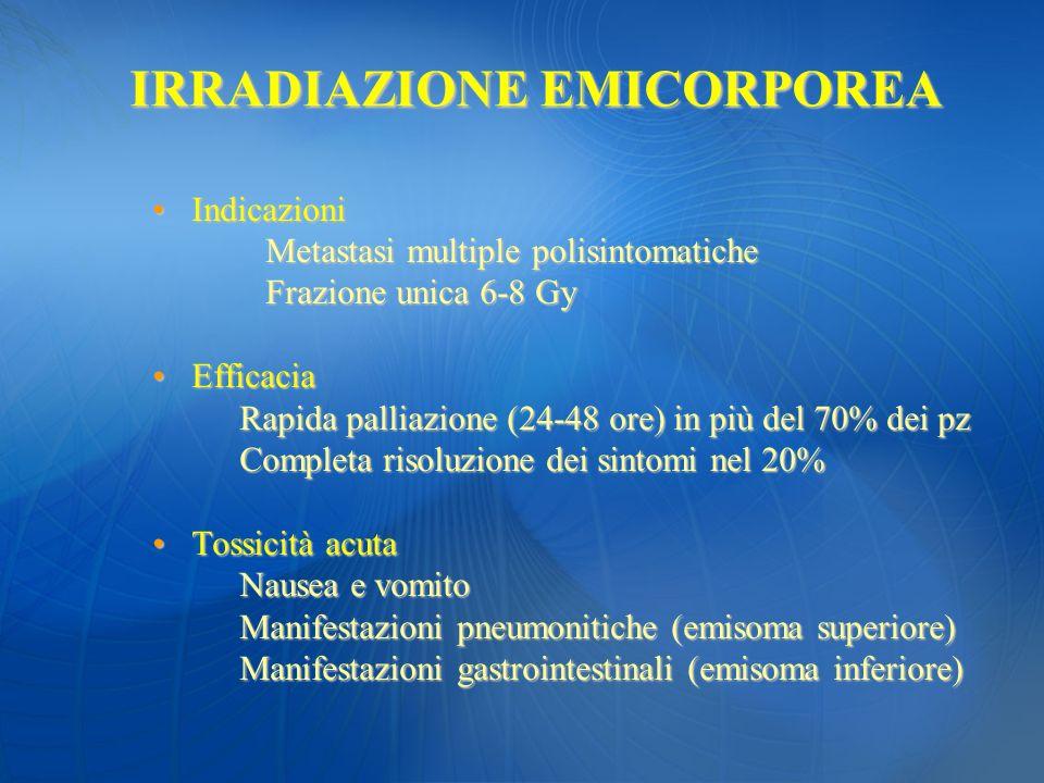 IndicazioniIndicazioni Metastasi multiple polisintomatiche Metastasi multiple polisintomatiche Frazione unica 6-8 Gy Frazione unica 6-8 Gy EfficaciaEf