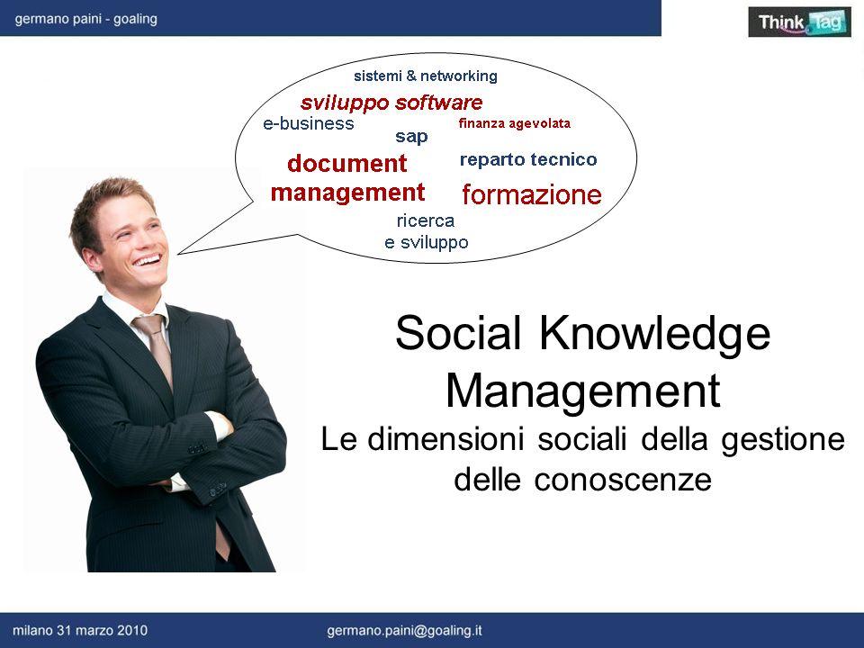 Social Knowledge Management Le dimensioni sociali della gestione delle conoscenze