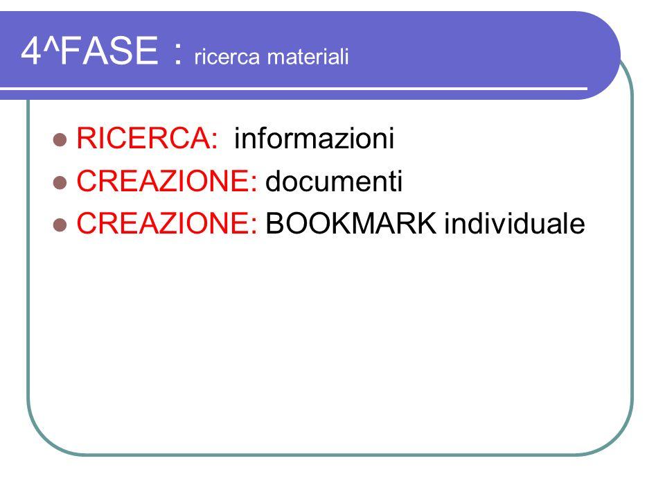 4^FASE : ricerca materiali RICERCA: informazioni CREAZIONE: documenti CREAZIONE: BOOKMARK individuale