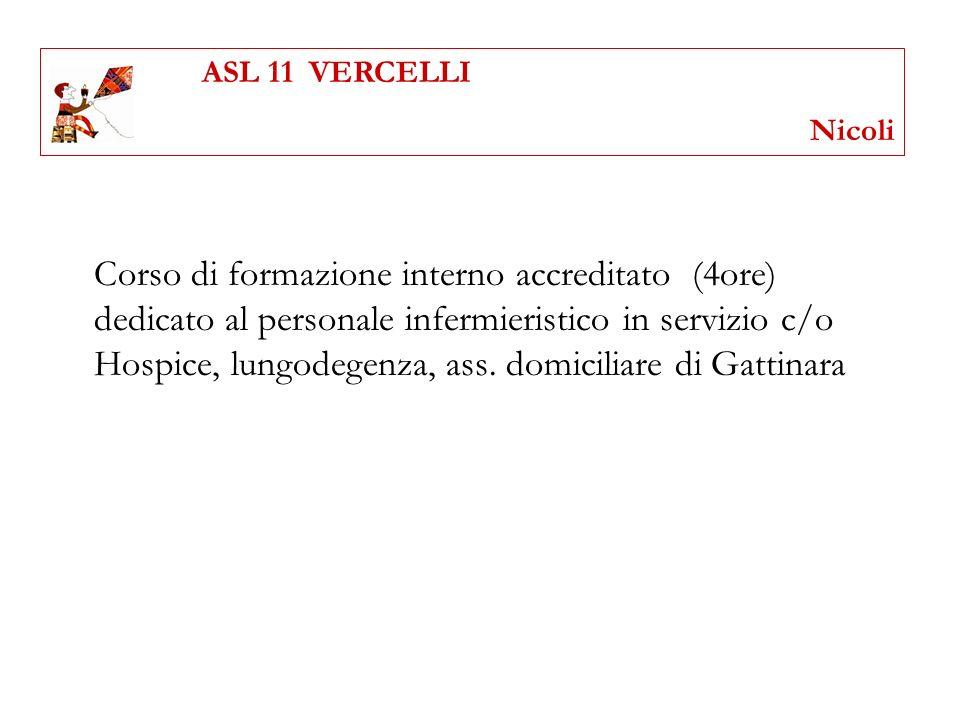 Corso di formazione interno accreditato (4ore) dedicato al personale infermieristico in servizio c/o Hospice, lungodegenza, ass. domiciliare di Gattin