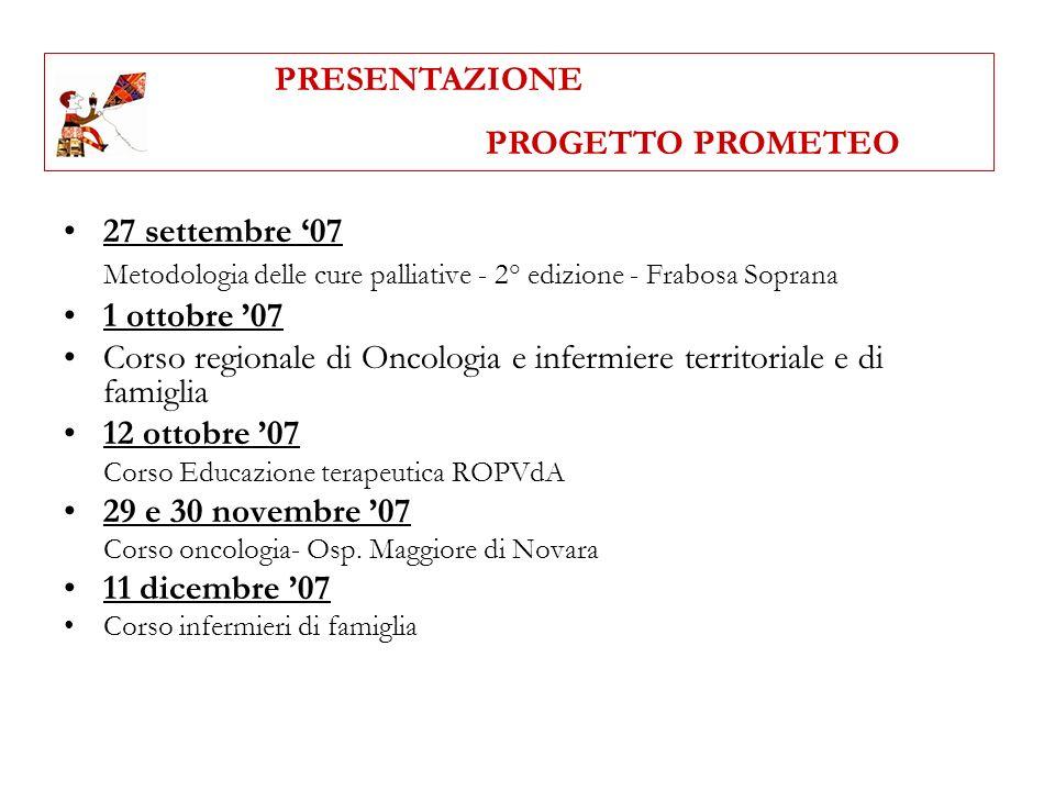 27 settembre 07 Metodologia delle cure palliative - 2° edizione - Frabosa Soprana 1 ottobre 07 Corso regionale di Oncologia e infermiere territoriale