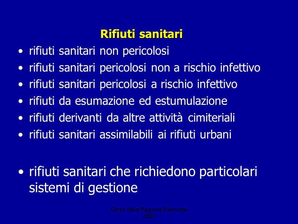 Corso della Regione Piemonte 2003 Rifiuti sanitari rifiuti sanitari non pericolosi rifiuti sanitari pericolosi non a rischio infettivo rifiuti sanitar